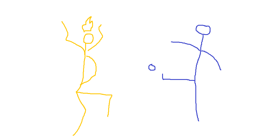 flaming guy catching a kicked ball